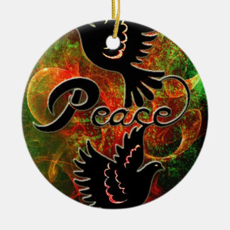 PEACE ~ CHRISTMAS.jpg Double-Sided Ceramic Round Christmas Ornament