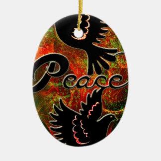 PEACE ~ CHRISTMAS.jpg Double-Sided Oval Ceramic Christmas Ornament