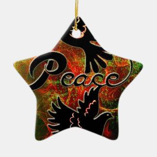 PEACE ~ CHRISTMAS.jpg Double-Sided Star Ceramic Christmas Ornament