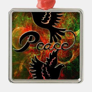 PEACE ~ CHRISTMAS.jpg Square Metal Christmas Ornament