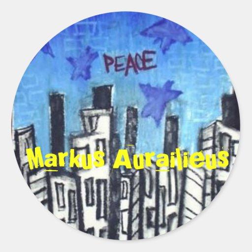 peace classic round sticker