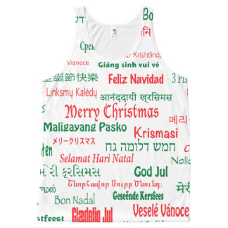 Peace Coexist Happy Merry Christmas Many Languages All-Over Print Tank Top