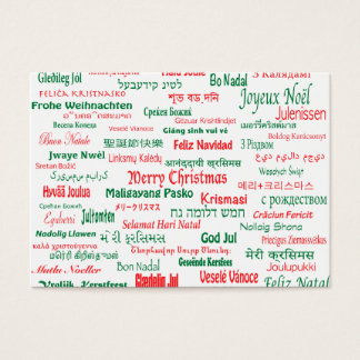 Peace Coexist Happy Merry Christmas Many Languages Business Card