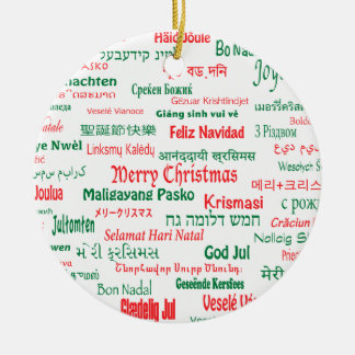 Peace Coexist Happy Merry Christmas Many Languages Ceramic Ornament