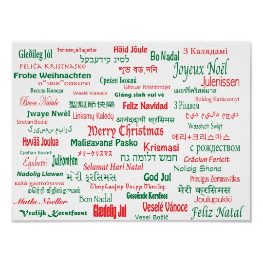 Merry Christmas In Different Languages.Peace Coexist Happy Merry Christmas Many Languages Poster