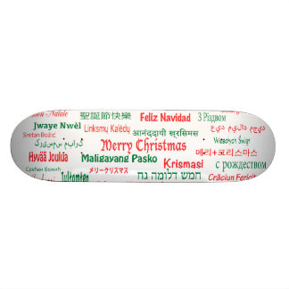 Peace Coexist Happy Merry Christmas Many Languages Skateboard Deck
