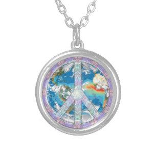Coexist necklaces lockets zazzle peace coexist silver plated necklace aloadofball Gallery