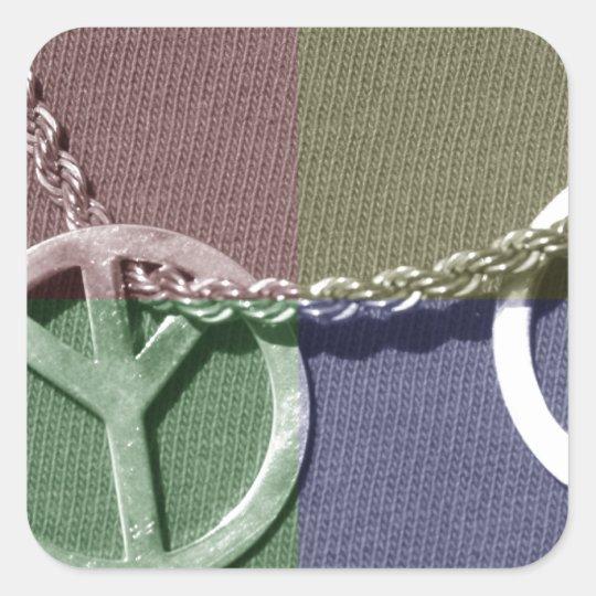 Peace Color Square Sticker