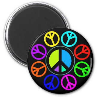 PEACE COLOR WHEEL 2 INCH ROUND MAGNET