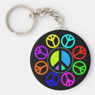 PEACE COLOR WHEEL BASIC ROUND BUTTON KEYCHAIN
