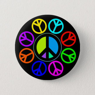 PEACE COLOR WHEEL PINBACK BUTTON