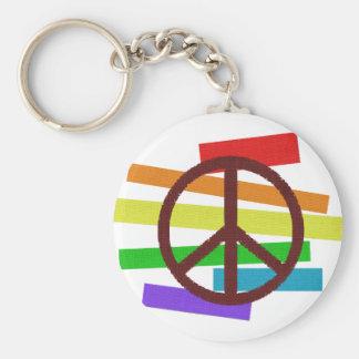 peace colour flag cloth-like basic round button keychain