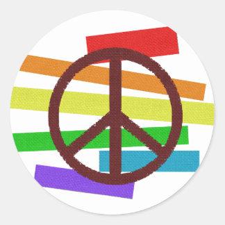 peace colour flag cloth-like classic round sticker