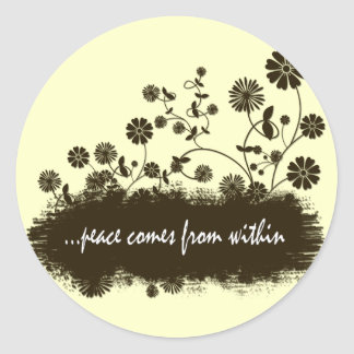 Peace comes from within stickers