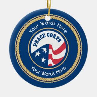 Peace Corps Universal Rope Shield Ceramic Ornament