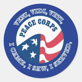 Peace Corps VVV Shield Classic Round Sticker