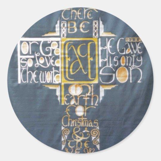 Peace Cross Classic Round Sticker