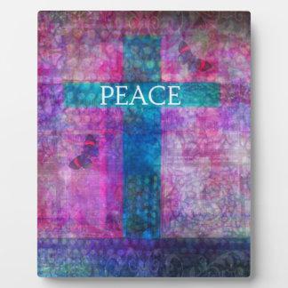 PEACE CROSS Contemporary Christian art Display Plaque