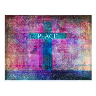 PEACE CROSS Contemporary Christian art Postcard