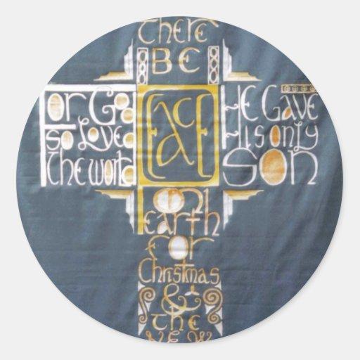 Peace Cross Round Sticker