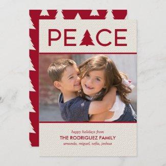 Peace Custom Photo Holiday Tree Maroon Beige