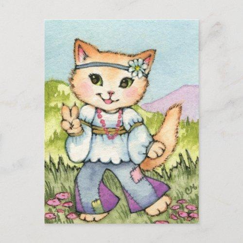 Peace _ Cute Hippie 60s Cat Art Postcard
