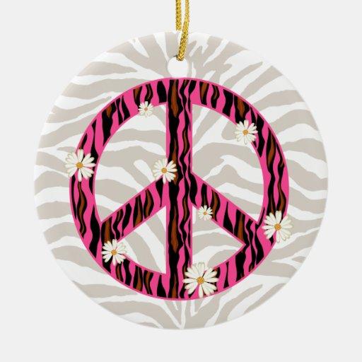 PEACE daisy flower zebra friendship ornament pink