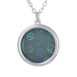 PEACE DARK SILVER PLATED NECKLACE