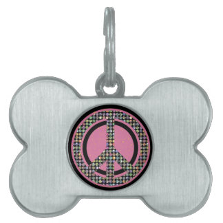 PEACE DAZZLE PINK PET TAG
