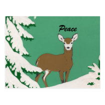 Peace Deer Snow Winter Scene Postcard