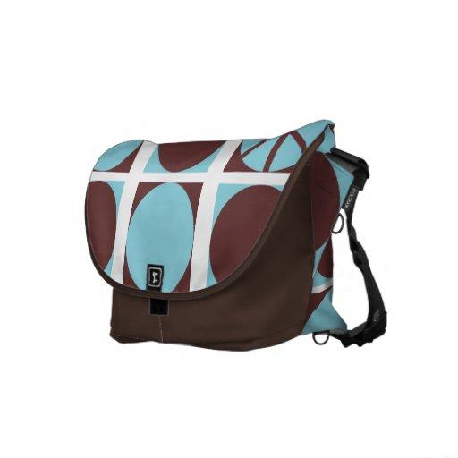 Peace Dots Blue/Brown Messenger Bags