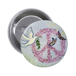 Peace Dove Butterflies Button
