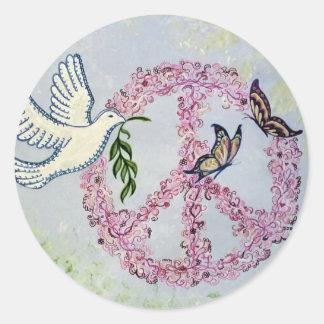 Peace Dove Butterflies Classic Round Sticker