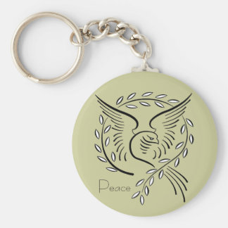 Peace Dove Button Keychain