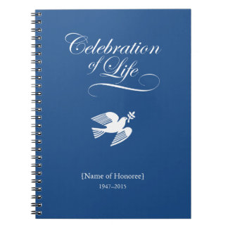 Peace Dove Celebration of Life Memorial Notebook