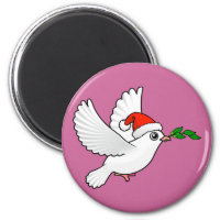Cute Peace Dove with Santa Hat Round Magnet
