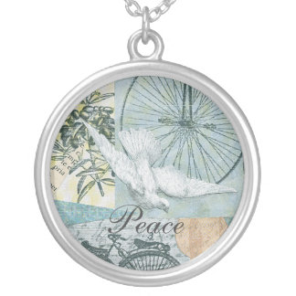 Peace Dove Collage Art Silver Plated Necklace