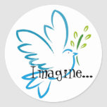 peace_dove_flying, Imagine... Round Sticker