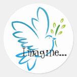 peace_dove_flying, Imagine... Classic Round Sticker
