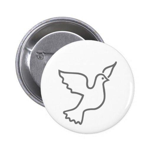 Peace Dove Gray 2 Inch Round Button