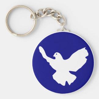 Peace Dove Basic Round Button Keychain