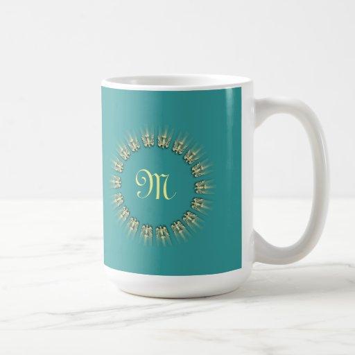 Peace Dove Monogram Circle Coffee Mug