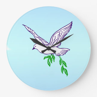 Peace Dove Olive Branch Wall Clock