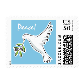 Peace dove on blue holiday postage stamps