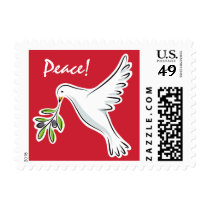 Peace dove on red holiday postage stamps