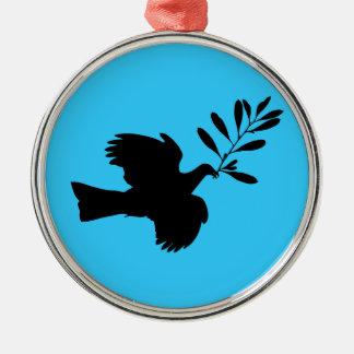 Peace Dove Round Metal Christmas Ornament