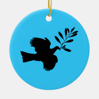 Peace Dove Double-Sided Ceramic Round Christmas Ornament
