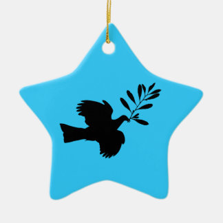 Peace Dove Double-Sided Star Ceramic Christmas Ornament