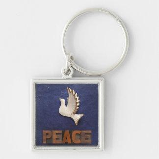 peace dove premium square keychain