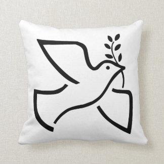 Peace Dove Silhouette White Pillow